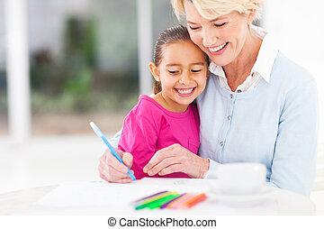 rajzol, neki, lányunoka, nagyanya, hogyan, tanítás, idősebb ember