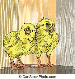 rajzol, skicc, csirke, kéz