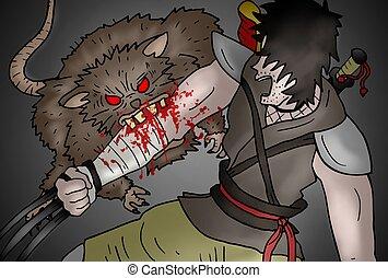 rajzol, támad, patkány, könyvcímrajz