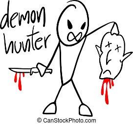 rajzol, vadász, démon