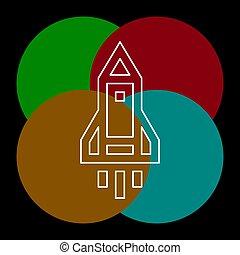 rakéta, -, űrhajó, vektor, űrhajó, ikon