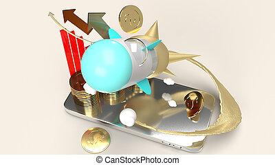rakéta, content., vakolás, slicc, startup, telefon, mozgatható, 3
