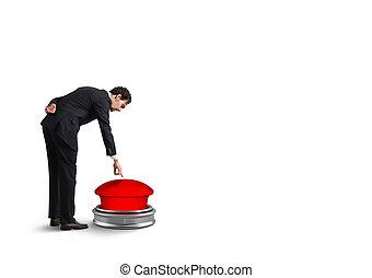 rakéta, dob, rámenős, button., vakolás, üzletember, piros, 3