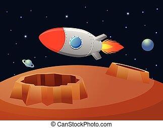 rakéta, felett, repülés, bolygó, vektor, retro