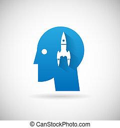 rakéta, jelkép, feláll, ábra, elindít, vektor, tervezés, sablon, ikon
