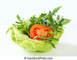 rakéta, saláta, alatt, fejes saláta, tál