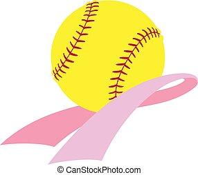rak, świadomość, wstążka, softball