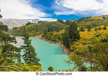 View at Southern Alps and turquoise river Rakaia at Rakia Gorge, New Zealand