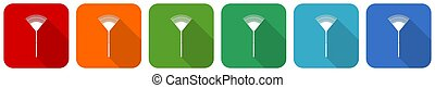 Rake, gradening too icon set, flat design vector illustration in 6 colors options for webdesign and mobile applications