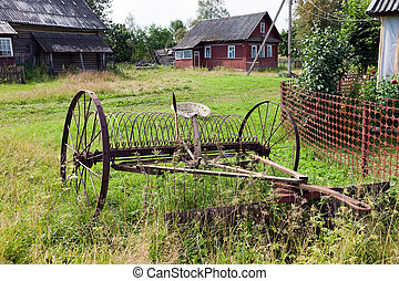 Rake hay in agriculture obsolete model