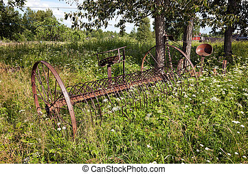 Rake hay in agriculture, obsolete model