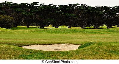Rake in golf bunker - Rake in bunker on golf course