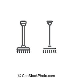 Rake line and glyph icon, agriculture and garden, instrument sign, vector graphics, a linear pattern on a white background.