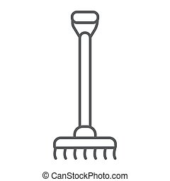 Rake thin line icon, agriculture and garden, instrument sign, vector graphics, a linear pattern on a white background.