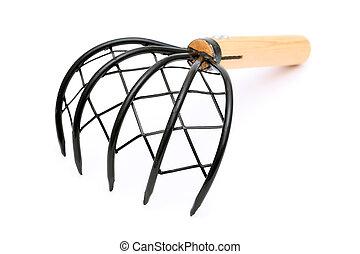 rake tool for shellfish gathering, on white background