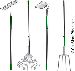 Rakes Hoe and Pitchfork - Illustration of two types of rakes...
