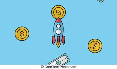 raket, dollars, muntjes, regen, animatie, rekeningen,...