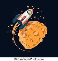 raket, maan, ruimte, zoals, banen, planeet
