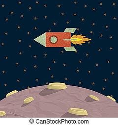 raket, planet, papercraft
