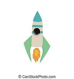 raket, ruimte, lancering, illustratie, element, thema, vector, ontwerp, kosmos, spotprent