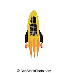 raket, ruimte, lancering, illustratie, element, thema, vector, ontwerp, kosmos, spotprent, scheeps