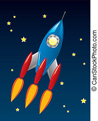 raket, ruimte, stylized, vector, retro, scheeps