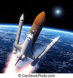 raket, ruimte, vast lichaam, boosters, scheiding, shuttle
