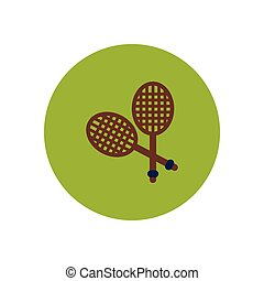 raket, tennis, pictogram, kleur, modieus, cirkel