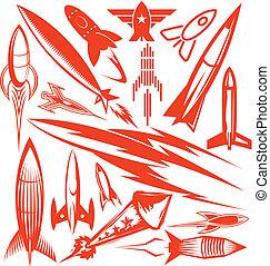 raket, verzameling, rood