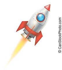 raket, vliegen, illustratie, achtergrond., vector, witte