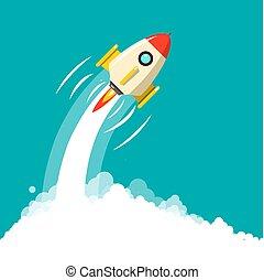 raket, zakelijk, ruimte, launch., start, vector, ymbol.,...