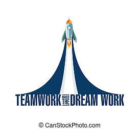 raketa, sen, běžet, kolektivní práce, čadit, díla
