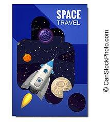 rakete, isolated., banners., entfernt, flyear, äußer, banner, raum, fliegendes, reise, zeitschriften, buch, vektor, sternen, raketen, plakate, schablone, universum, decke, planeten, grobdarstellung, abbildung, galaxien, erforschung, andere