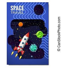 rakete, isolated., banners., entfernt, flyear, banner, raum, fliegendes, reise, zeitschriften, buch, vektor, sternen, raketen, plakate, schablone, universum, decke, planeten, abbildung, galaxien, erforschung, andere