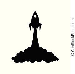 rakete, raum, start, symbol, projekt, raumschiff