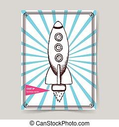 rakete, skizze, weinlese, stil