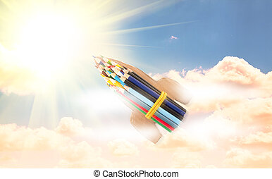 rakete, von, bleistift, fliegendes, in, der, himmelsgewölbe