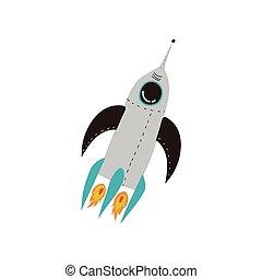 raketlancering, illustratie, element, thema, vector, ontwerp, kosmos, spotprent