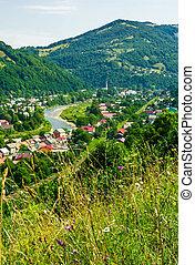 rakhiv, cidade, em, verão, vista, de, a, colina