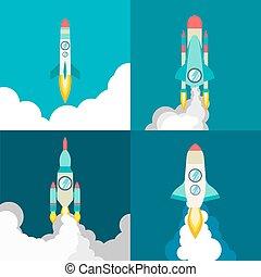 rakieta, cztery, statek, style., podróż kosmiczna, przelotny, twórczy, początek, innowacja, rockets., rozwój, płaski, produkt, afisz, process., ilustracja, ideas., rysunek, cosmos., do góry, projekt, wektor