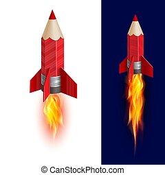 rakieta, ołówek