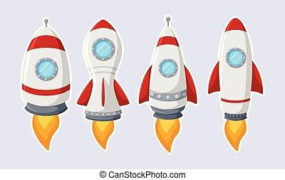 rakieta, odizolowany, zbiór, rysunek, tło, statek, biały