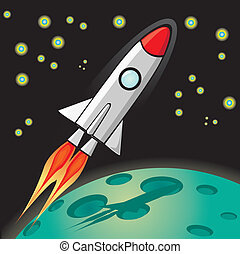rakieta, sky., przestrzeń, wektor, retro, statek