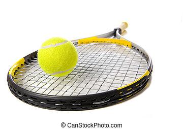 rakieta, tenis, biała piłka