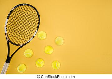 rakieta, tenis piłki, odizolowany, żółty