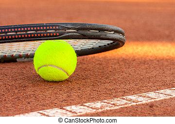 rakieta, tenisowa piłka, dziedziniec, glina