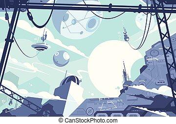 rakiety, przestrzeń, kolonia, stacje