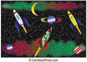 rakiety, przestrzeń