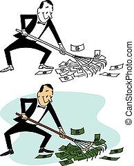 Raking in the Cash - A man literally rakes in the dough