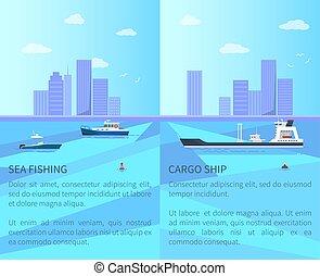 rakomány, ábra, vektor, halászat, tenger, hajó